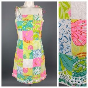 Lilly Pulitzer Tie Shoulder patchwork dress